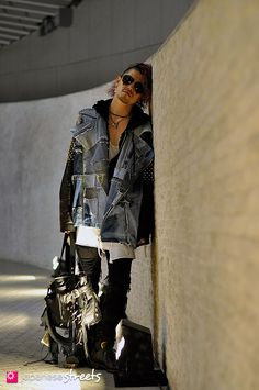 denim and leather - japanese street fashion