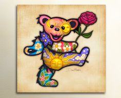 • Rosy the Dancing Bear is a signed print of the original illustration by artist Dan Morris. It is produced as stickers and T-Shirts and licensed