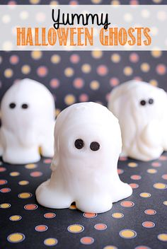 Kids Halloween Treat: White Chocolate Covered Ghosts. Great for a kids party! by Crazy Little Projects