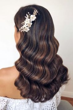 39 Wedding Hairstyles 2020 Ideas wedding hairstyles smooth long wavy hair pinned with accessorie to one side caraclyne. Best Wedding Hairstyles, Sleek Hairstyles, Bride Hairstyles, Down Hairstyles, Romantic Hairstyles, Wavy Bridal Hair, Wedding Hair And Makeup, Bridal Makeup, Romantic Wedding Hair
