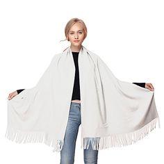 GWELL Capes Ponchos Femme Echarpe Couleur Pure Châle Chaud Tricot Blanc   Amazon.fr  a3493a8eb4d