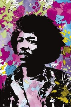 Jimi Hendrix Psychadelic Colours Colors Poster Pop Art Music