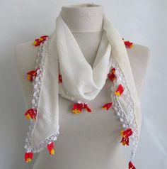 chiffon scarf  Oya Scarf off white scarf  scarf sale by ScarfsSale, $25.00