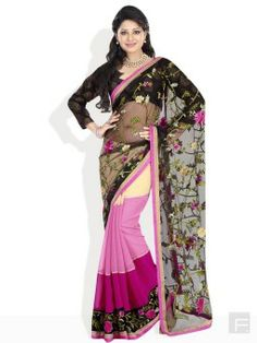Branded stylish saree for women Saree with a three shaded panel skirt Women saree floral embroidery work on pullu Border of the skirt features floral embroidery Classy blouse piece completes this fabulous design