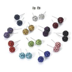 Exciting 12 Color Set Shamballa Rhinestones Crystal Fireball Stud Earrings, Stainless Steel, Hypoallergenic - Jewelry For Her