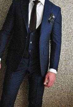 Navy blue men's suit #wedding ##groomsmen tuxedo #groom wear business best men sui,  View more on the LINK: http://www.zeppy.io/product/gb/2/301746680502/