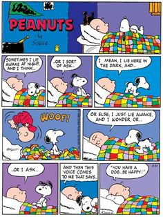 """be happy!"""" Snoopy and Charlie Brown. Snoopy Cartoon, Snoopy Comics, Peanuts Cartoon, Bd Comics, Funny Comics, Peanuts Comics, Happy Snoopy, Snoopy Love, Snoopy And Woodstock"""