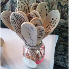 Write a note or advice on a cooking spoon. Cute for a bridal shower!