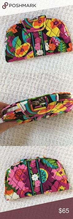 """Vera Bradley Va Va Bloom Kisslock Wallet New without tags! Absolutely stunning wallet. Never used. Measures 8 x 4.25."""" 6 card slots, 2 window id slots, 2 bill slots, 2 Kisslock sections. Held shut with a magnetic flap closure. Super cute! Vera Bradley Bags Wallets"""