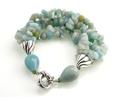 Gemstone Multi Strand Bracelet Amazonite by TrinketsNWhatnots, $35.00