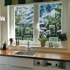 Gek op kopjes thee en cupcakes? Versier dan je ramen er mee! Ook heel geschikt als decoratie voor een high tea en/of lunchroom. #raamtekening