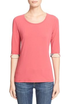 Free shipping and returns on Burberry Brit Check Trim Three Quarter Sleeve Top at Nordstrom.com. Woven check trim at the cuffs brands a staple top cut from silky, stretch-cotton jersey in a selection of vibrant colors.