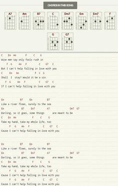 Ukulele chords and lyrics for 'Can't help falling in love' by Elvis Presley/ Twenty one pilots