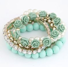 Mint green | accessories, bracelets, beads, roses