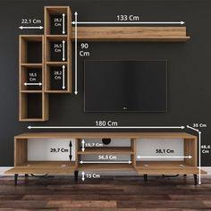 Tv Unit Decor, Tv Wall Decor, Wall Tv, Bookcase Wall, Wall Wood, Wood Walls, Wood Paneling, Wall Shelves, Tv Wanddekor
