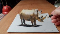 Check out this awesome 3D Rhinoceros illusion from Vamos Art. How to draw a realistic rhinoceros.   Mixed media.  Materials used: