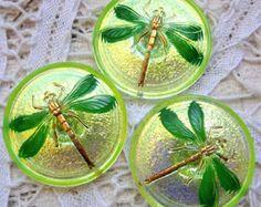 3 Modern Czech art glass buttons, 31mm luster backed uranium glass dragonfly FREE SHIPPING