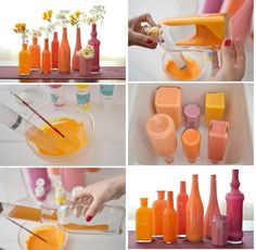 Don't know what to do with unwanted glass bottles? Try your hand at DIY upcycling for new home decor. Bottles And Jars, Glass Bottles, Mason Jars, Painted Bottles, Cute Crafts, Diy And Crafts, Idee Diy, Diy Décoration, Dyi