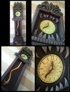 Disney Halloween Decorations that you can make yourself!  This spooky 13 hour clock from the Haunted Mansion would look amazing as a Halloween decoration!