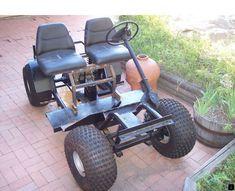 The beginnings of a golf cart modified to an off road vehicle. Off Road Golf Cart, Golf Trainers, Go Kart Plans, Trendy Golf, Diy Go Kart, Custom Golf Carts, New Golf Clubs, Power Wheels, Perfect Golf