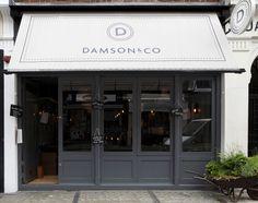 Exterior colors: Damson & Co. in Soho, London by Central Design Studio Pub Design, Restaurant Design, Design Loft, Café Restaurant, Shop Front Design, Shop Interior Design, Store Design, Food Design, Glass Store