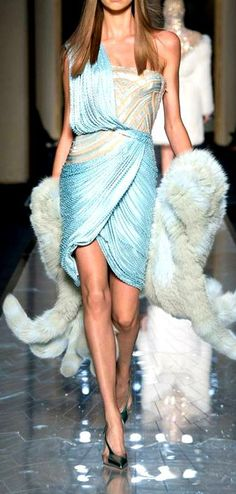 Atelier Versace Haute Couture S/S 2014 | pale blue | aqua color | one-shoulder | draped |  smocking material cocktail dress | high fashion