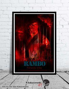 RAMBO - First blood - alternative movie poster / print  - [ Sylvester Stallone - Richard Crenna - Brian Dennehy - John David Morrell 1982 ]