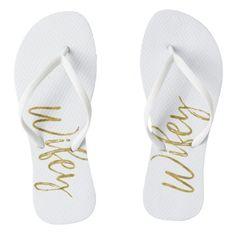 98d425d6408447  bride -  Wifey Flip Flops with Gold Foil Typography Just Married Flip Flops