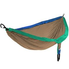 Eagles Nest Outfitters - DoubleNest Hammock  HIGH-STRENGTH, SAFELY SUPPORTS UP TO 400lbs - The DoubleNest Hammock features 70D high tenacity breathable nylon taffeta and triple interlocking stitching. It is designed to safely support a maximum capacity of 400 pounds. *HAMMOCK SUSPENSION STRAPS ARE SOLD SEPARATELY*  LIGHTWEIGHT AND EASILY PORTABLE - Big enough for two and spacious for one, the DoubleNest still manages to stuff easily into its attached compression stuff sack, compacting the…