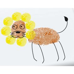 fingerprint lion craft: animals