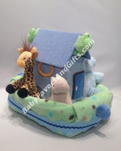 Noahs Ark Diaper Cake #NoahsArk #babyshower