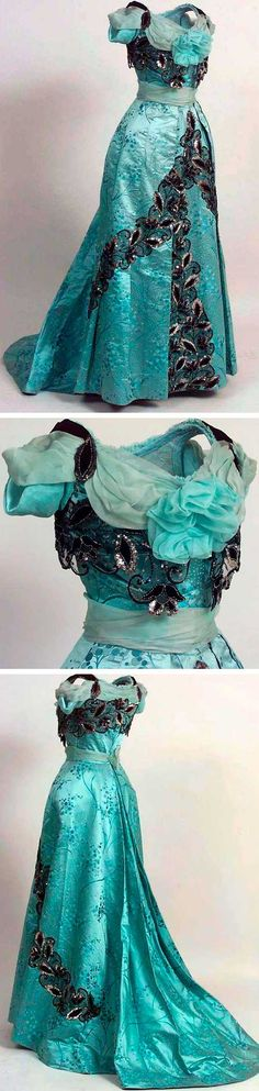 Utterly gorgeous turquoise evening gown, Via the Norwegian Folk Museum. Use this basic idea for the Black off shoulder dress by bernadine 1900s Fashion, Edwardian Fashion, Vintage Fashion, Antique Clothing, Historical Clothing, Historical Dress, Old Dresses, Pretty Dresses, Vintage Gowns