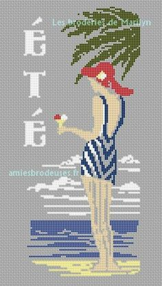 0 point de croix femme maillot de bain à la plage - cross stitch lady in swimsuit on the beach