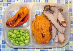 """Easy #Lunchboxes are available again! They are great for the WHOLE family.  Proof: here's Daddy's lunch for tomorrow.  Pork steak, sweet potato, edamame and grilled peppers."" via @Mollyslunchbox"