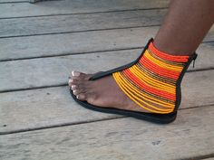 African Masai Beaded Sandals by CraftsByGertrude on Etsy Beaded Shoes, Beaded Sandals, Cute Sandals, Cute Shoes, Sexy Sandals, African Accessories, Fashion Accessories, African Fabric, African Dress
