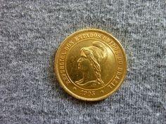 Brasil República - Moeda em ouro de 10.000 réis, cunhada em 1903, com tiragem de APENAS 391 MOEDAS,