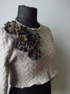 Beige Cropped Cable Knit Wool Sweater with Sweater Flowers / Upcycled Clothing…