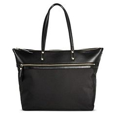 61241 clothing-accessories Women's Solid Nylon Work Tote with Faux Leather Trim Black - Merona  BUY IT NOW ONLY  $49.99 Women's Solid Nylon Work Tote with Faux Leather Trim Black - Merona...