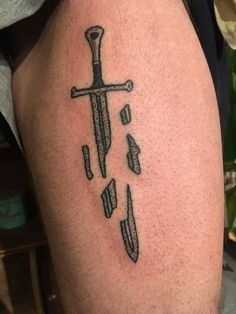 Second stick n poke I've done. Anduril on my thigh!