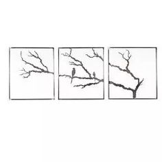 3 Panel Tree With Birds Garden Wall Art