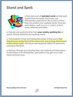 "Here's a fun 2nd grade spelling game to use anytime you're teaching in person. The directions are simple. Kids will be asking to play ""Stand and Spell"" again and again. Get the printable directions on the website. Spelling Games For Kids, Spelling Activities, Classroom Activities, 2nd Grade Spelling Words, Spelling Practice, Second Grade, Printable, Student, Lettering"