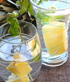 Pineapple and Mint Medley   What you will need: ​ 4 pineapple slices 2 sprigs of mint 1 quart of water and Ice   Chill for a stronger flavor or serve right away for a nice light refreshment.