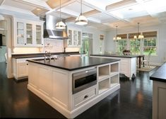 Ginormous kitchen; Cabinet and trim paint (Benjamin Moore Decorators White or Farrow & Ball Whimborne White or Benjamin Moore Navajo by ursula