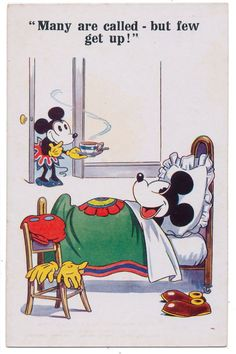 Disney Postcard - Minnie Tries to Lure Mickey Mouse from Bed with Breakfast
