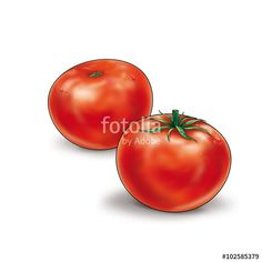 "Download the royalty-free photo ""Ripe Tomatoes isolated on white background. Two fresh red tomatoes with water drops and shadow, vegetables, food. Still Life, illustration"" created by sofiartmedia at the lowest price on Fotolia.com. Browse our cheap image bank online to find the perfect stock photo for your marketing projects!"