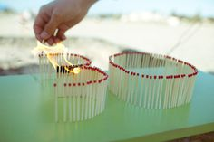 matches line up to form the numbers on ur birthday, then light it up.. cool ideas.. @Ashley Pollard Cute for your planning purposes!