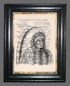 Native American Indian Chief  Vintage Dictionary by CocoPuffsArt, $9.99