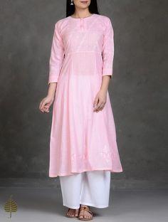 Buy Pink Chikankari Kalidar Cotton Kurta by Jaypore Online at Jaypore.com
