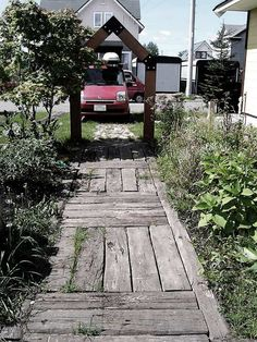 I love this walkway made from recycled wood