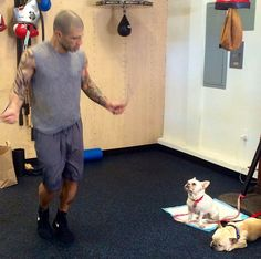 Miguel Cotto enjoying his little company at training camp. #cottorodriguez #warcotto